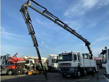 DAF CF 85-410 8X4 MANUAL FULL STEEL + HIAB 477-6 + J  - dropside/ flatbed truck