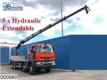 Dropside/ flatbed truck Renault Kerax 450 Dxi 8x4, Hiab crane, Remote, Manual, Retarder, Airco, Steel suspension