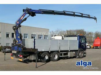 Dropside/ flatbed truck Scania G440 6x4, Kran PM 22026SP, Funk, zusammenlegbar