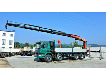 Dropside/ flatbed truck Scania P380 Pritsche 7,10m +Kran/FUNK *8x4*Topzustand!