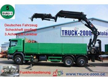 Dropside/ flatbed truck Scania P 380 Hiab 377-E6+JIB 70X-4 Höhe 28.5m TüV 02/22