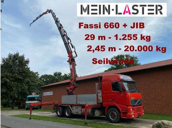 Dropside/ flatbed truck Volvo FH16 Fassi 660 JIB 29 m 1.250 kg Seilwinde Funk