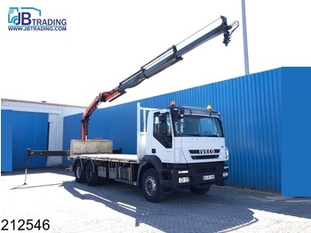 Iveco Trakker 410 6x4, Manual, Plafinger crane, Remote, Steel suspension, Airco, Hub reduction - dropside truck