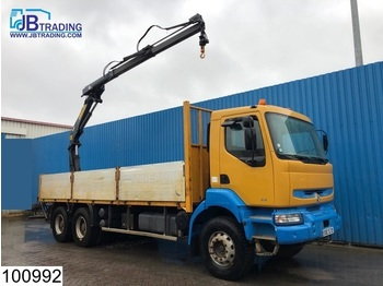Renault Kerax 340 6x4, Effer crane, Steel suspension, Manual, Borden, Hub reduction - dropside truck