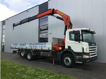 Dropside truck Scania P124.360 6X2 PALFINGER PK32080 MANUAL FULL STEEL