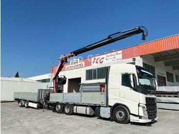 Dropside truck Volvo FH 460 6x2 Fassi 215A.23 + Zange Krone Anhänger