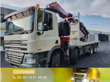 Flatbed truck DAF CF85.410 8x4 Crane 36Tm with JIB: picture 1