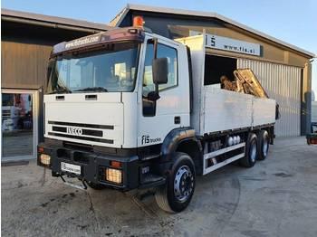 Flatbed truck Iveco EUROTRAKKER MP380E38H 6x4 stake body + crane HIAB 200C-5