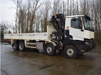 Flatbed truck Renault K460 TRUCK MOUNTED CRANE AND FLATBED WITH TWISTLOCKS
