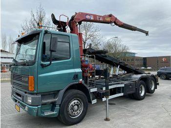Hook lift truck DAF AS 75 Full steel met hmf kraan 2004