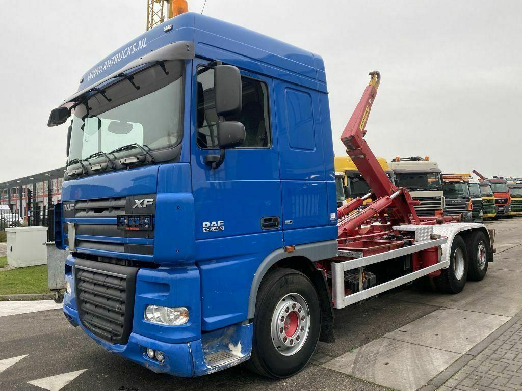 hook lift truck DAF XF 105.460 6X2 MANUAL RETARDER EURO 5 + HYVALIFT