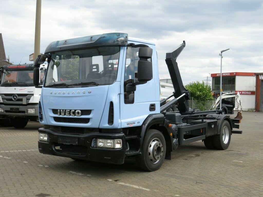 hook lift truck Iveco EuroCargo ML 120 E 25 Abrollkipper Hiab City-Lif