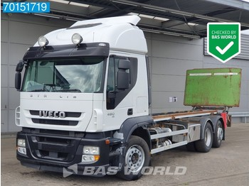 Hook lift truck Iveco Stralis 480 6X2 Manual Lift+Lenkachse Ladebordwand Euro 5