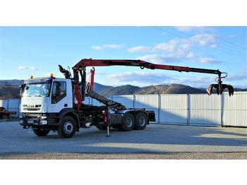 Hook lift truck Iveco  TRAKKER  410 Abrollkipper+Kran 6x4