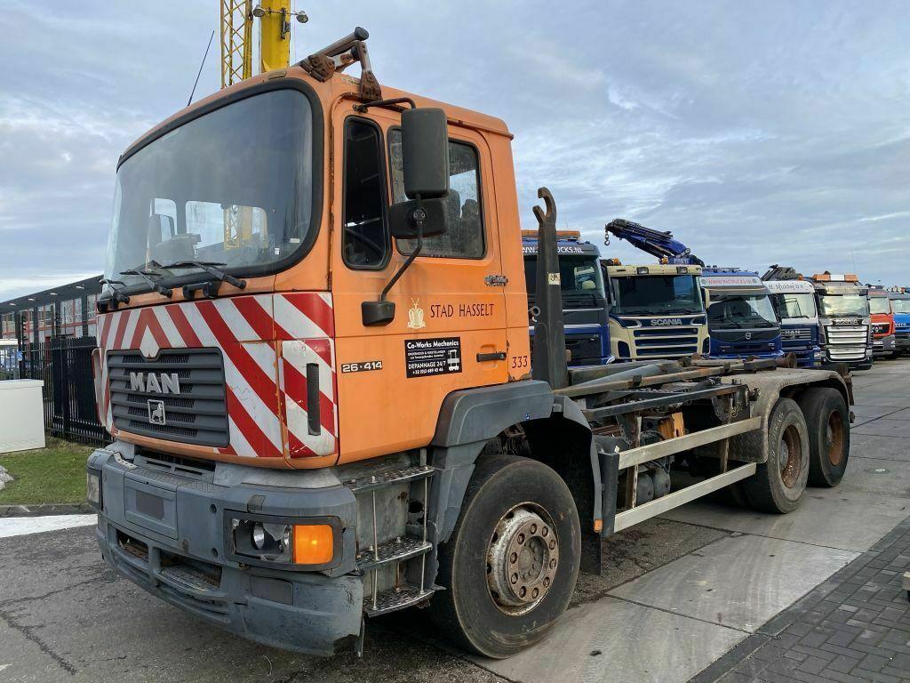 hook lift truck MAN 26.414 6X4 MANUAL - FULL STEEL - HUB REDUCTION