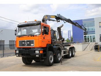 MAN 35.322 VFA -8X8 + CRANE EFFER 150/3S - hook lift truck