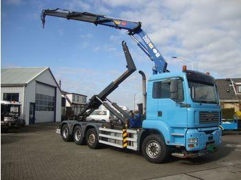 Hook lift truck MAN 36-430 8X2 HMF 20TON CRANE