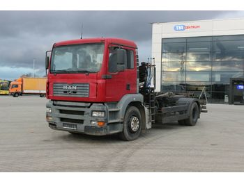Hook lift truck MAN TGA 18.350 HYDRAULIC CRANE HIAB 102