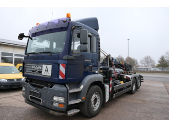 Hook lift truck MAN TGA 26.440 6X2-2BL PLAFINGER KRANE PK12502 KLIMA