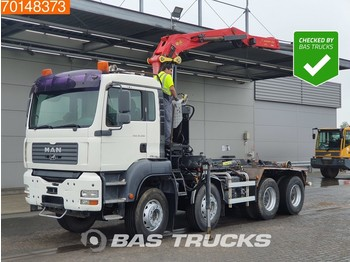 Hook lift truck MAN TGA 35.390 8X4 Palfinger Epsilon Z-Crane Hooklift Manual Big-Axle