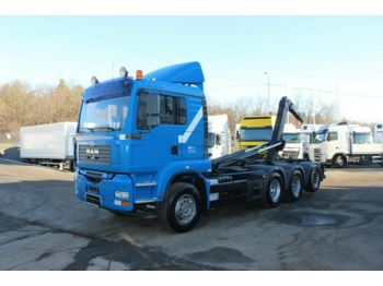Hook lift truck MAN TGA 35.440 8X4-4 BL,RETARDER,WHEELS 80%