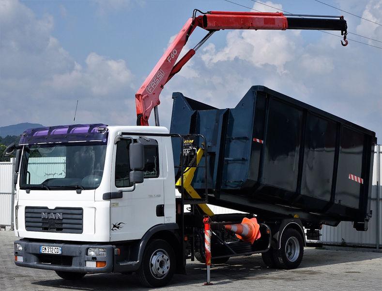 MAN TGL 7.150 Abrollkipper 4,20m + Kran! hook lift truck