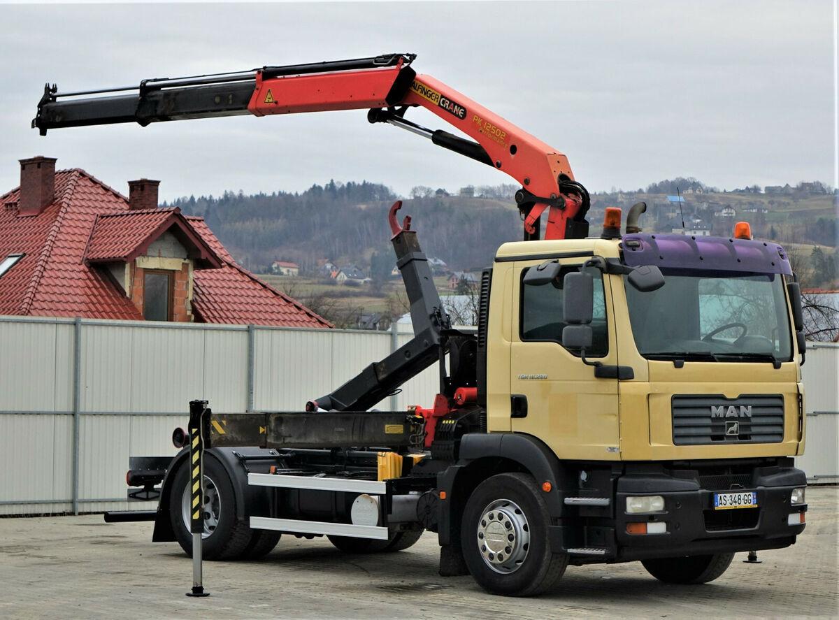MAN TGM 18.280 Abrollkipper 4,00m + Kran/FUNK !! hook lift