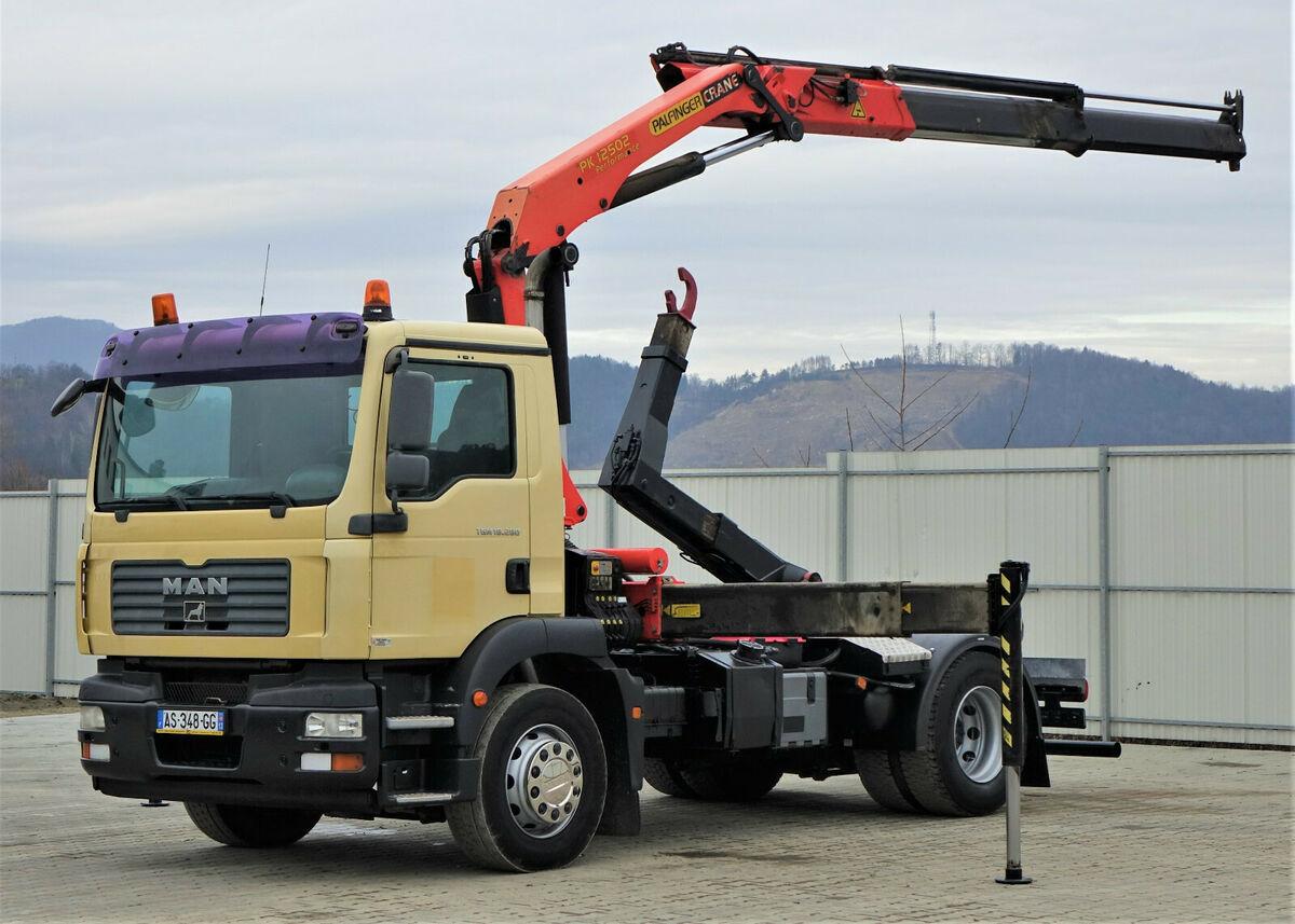 hook lift truck MAN TGM  18.280  Abrollkipper 4,00m + Kran/FUNK !!