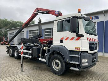 Hook lift truck MAN TGS 26.360 6x2 Abrollkipper + Kran HMF 8,2 m