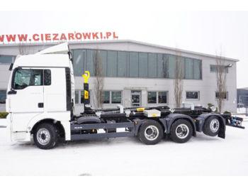 Hook lift truck MAN TGX 35.580 XLX , E6 , 8x4 , steer/lift axle , NEW HYVA 26T , re