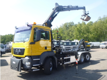 M.A.N. TGS 26.320 6x4 container hook + Hiab XS166 E-2 HiPro + rotator/grapple - φορτηγό φόρτωσης γάντζου