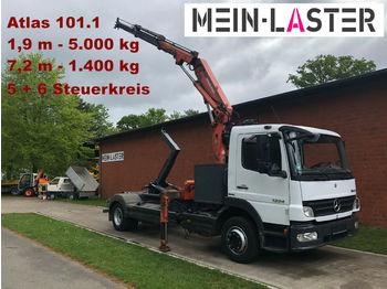 Hook lift truck Mercedes-Benz 1224 Meiller Abroller +Atlas 101.1 - 7,3 m 1.4 t