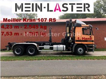 Hook lift truck Mercedes-Benz 2635 6x4 Actros Meiller + Kran 107 RS + FB +1.Hd