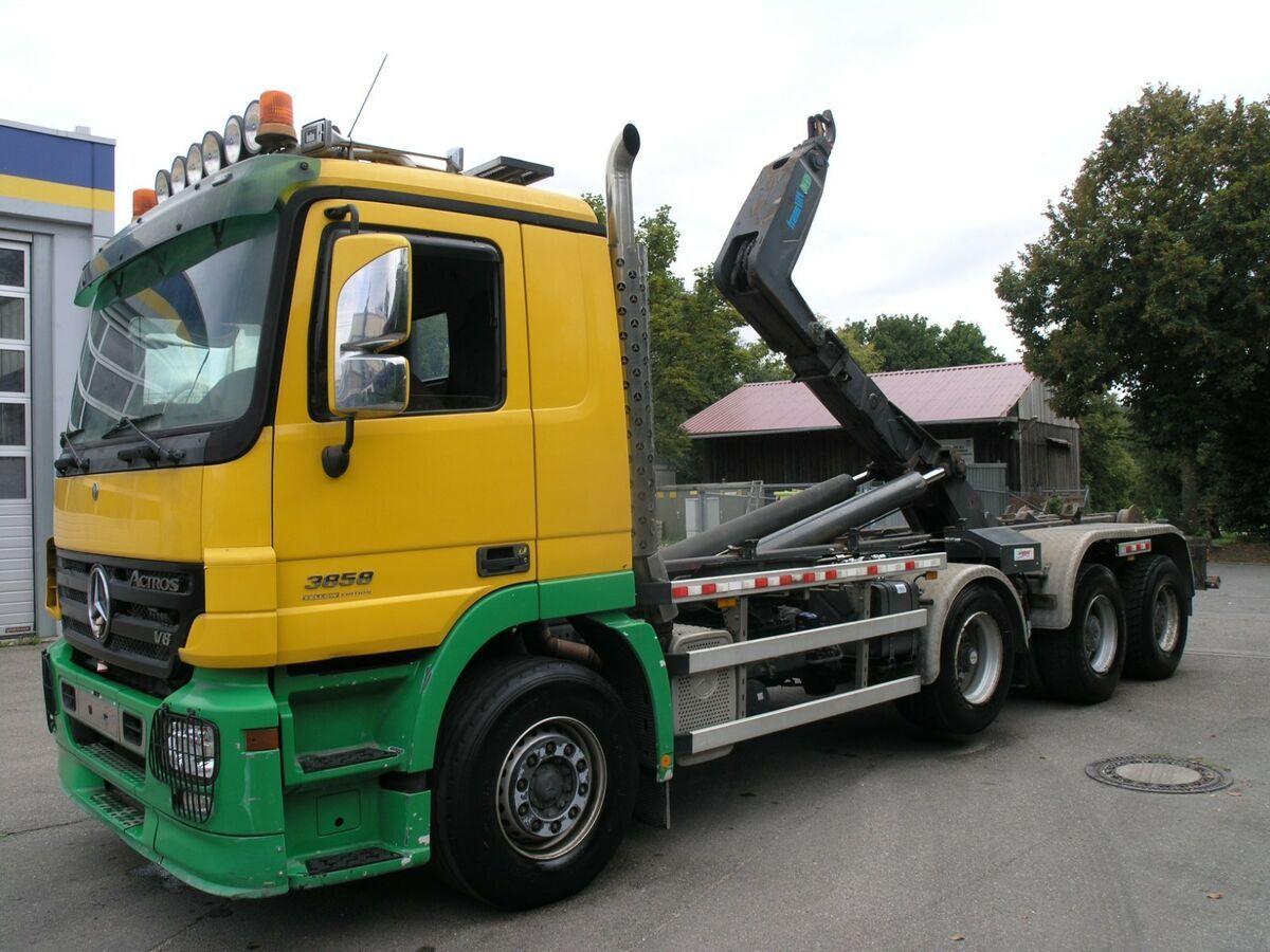 hook lift truck Mercedes-Benz 3858 BB 8X4 Abroll schwere lange Ausführung