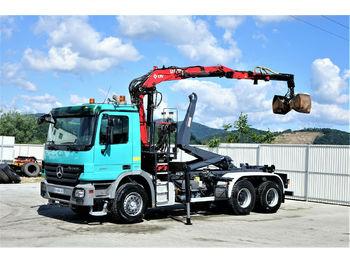 Hook lift truck Mercedes-Benz Actros 3341 Abrollkipper 5,00m+ Kran*6x4!