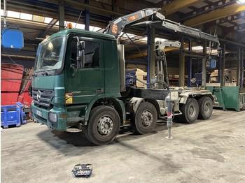 Hook lift truck Mercedes-Benz Actros 4150 V8 + CRANE PM16 (16Tm) + RADIO - 8x4 - STEEL SPRING / HUB REDUCTION AXLES / EPS GEARBOX