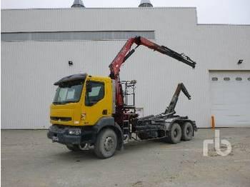 Hook lift truck RENAULT KERAX 370DCI Rolloff Truck w/Crane 6x4