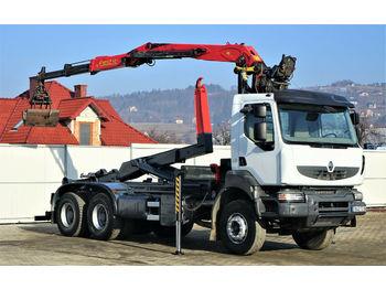 Hook lift truck Renault KERAX 370 DXI Abrollkipper+Kran 6x4
