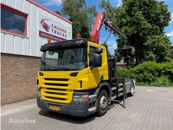 Hook lift truck SCANIA P230 Hyva Hook system + HMF Crane
