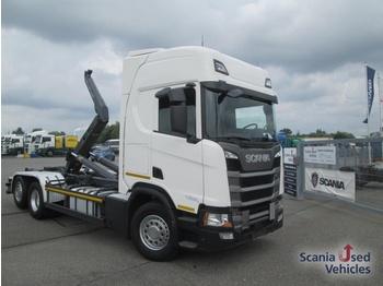 Hook lift truck SCANIA R 450 B 6x2*4 NA MEILER Abroller Lenk Liftachse ne