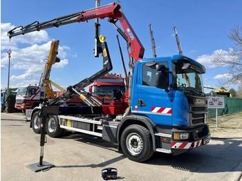 Hook lift truck Scania G370 - 6x4 + KRAAN HMF 2120 (4x) - EURO 6 - HAAKSYSTEEM + KRAAN / ABROLKIPPER + KRAN / PORTE CONTAINER + GRUE