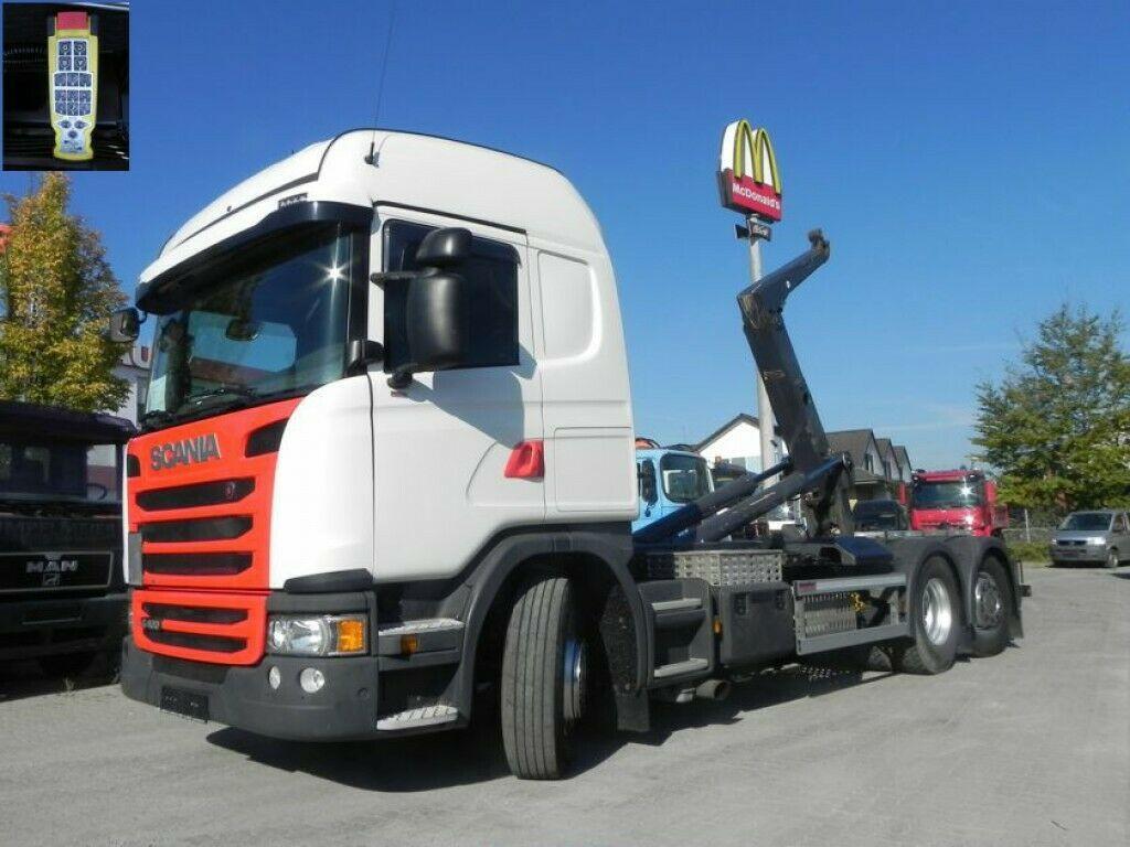 hook lift truck Scania G 410 LB 6x2*4HNA Abrollkipper Meiller, Lift+Len