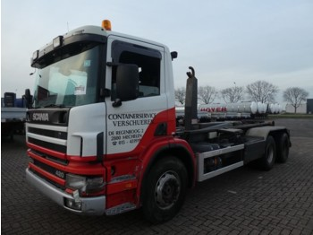Scania P410 6x2 Euro 6 hook lift truck from Netherlands for sale at