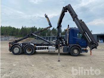 Hook lift truck  Scania P400LB Lastväxlare med Kran och Flak