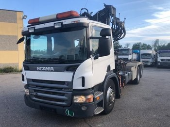 Scania P420 6x2 Abroller mit Kran, Halbautomatic ,Retarder,Euro3,Liftachse - hook lift truck