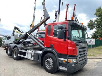 Hook lift truck Scania P420 6x2 CONTAINER HAAKSYSTEEM AJK / AMPLIROL / ABROLLKIPPER - *453.000km* - LIFT-AS - 10 BANDEN - BELG