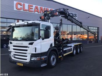 Hook lift truck Scania P 380 B 8x4 Euro 5 Hiab 21 ton/meter laadkraan