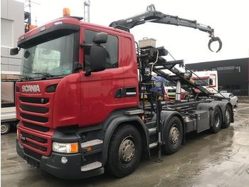 Hook lift truck Scania R410 EURO 6 8x2 KRAAN + CONTAINERSYSTEEM