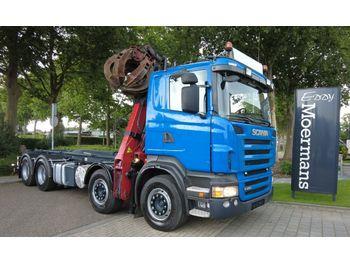 Hook lift truck Scania R480 8x4 Abroller Mit Kran