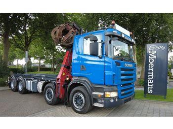 Hook lift truck Scania R480 8x4 Schrottkran Mit Abrolkipper